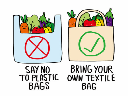 Stop plastic pollution concept. Say no to plastic bags, Bring your own textile bag.