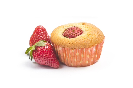 Strawberry muffins on white background 写真素材