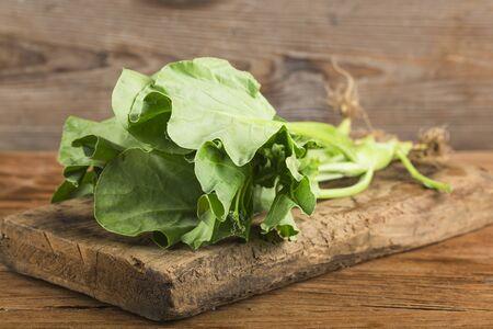 Fresh kale on wooden board Reklamní fotografie