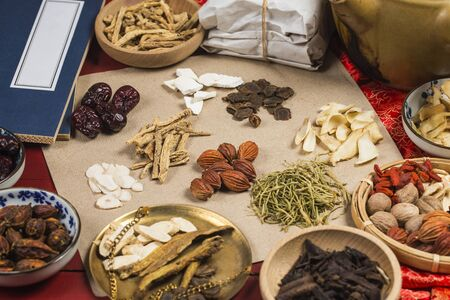 traditional Chinese medicine and books Stock Photo