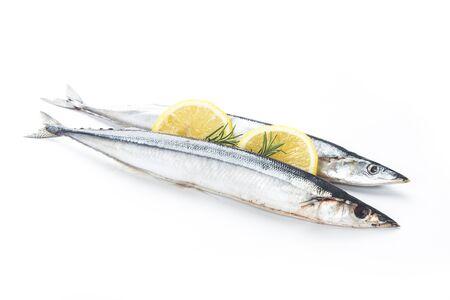 Saury fish on white background Stok Fotoğraf - 130110694