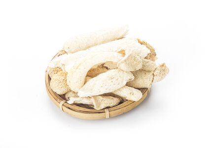 Dried Tropical Stinkhorn mushroom (Bamboo mushroom) isolated on white background