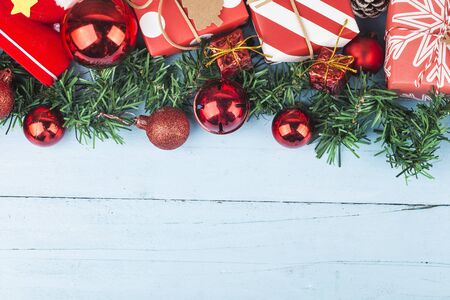 Christmas background with gift boxes,  Preparation for holidays. Top view with copy space. 写真素材 - 132937154