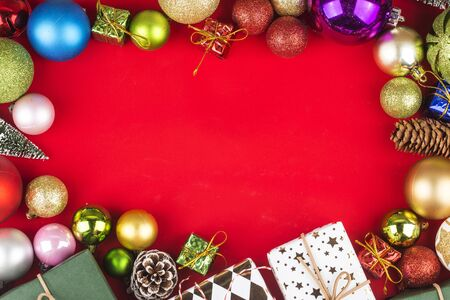 Christmas background with gift boxes,  Preparation for holidays. Top view with copy space. 写真素材 - 132937174