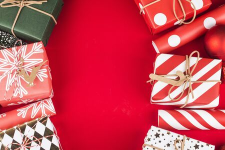 Christmas background with gift boxes,  Preparation for holidays. Top view with copy space.