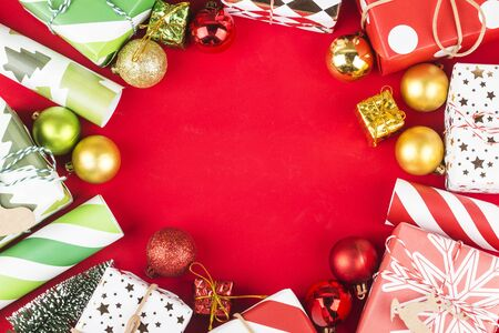 Christmas background with gift boxes,  Preparation for holidays. Top view with copy space. 写真素材 - 132937186