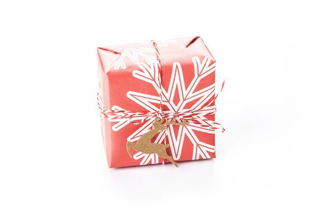 Christmas gift boxes on white background 写真素材 - 132937193
