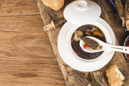 Morel ribs stew, Chinese cuisine 写真素材 - 133270448