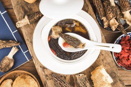 Morel ribs stew, Chinese cuisine 写真素材 - 133270924