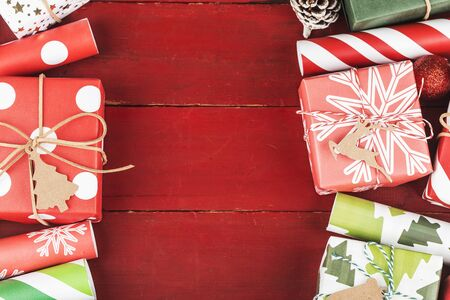 Christmas background with gift boxes,  Preparation for holidays. Top view with copy space. 写真素材 - 133273137