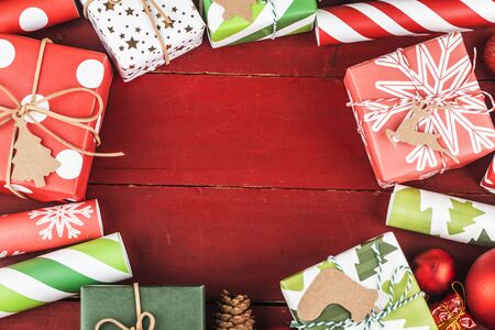 Christmas background with gift boxes,  Preparation for holidays. Top view with copy space. 写真素材 - 133272305