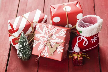 Christmas background with gift boxes,  Preparation for holidays. Top view with copy space. 写真素材 - 133272932
