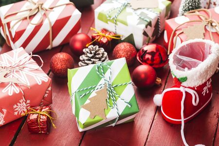 Christmas background with gift boxes,  Preparation for holidays. Top view with copy space. 写真素材 - 133272735
