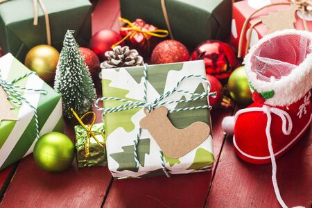 Christmas background with gift boxes,  Preparation for holidays. Top view with copy space. 写真素材 - 133271588