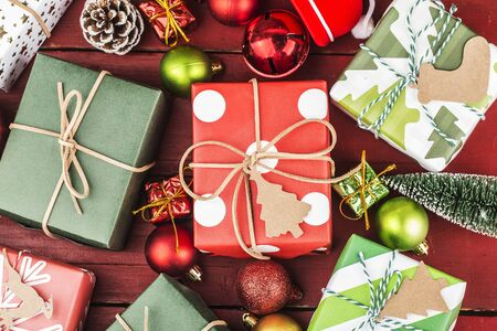 Christmas background with gift boxes,  Preparation for holidays. Top view with copy space. 写真素材 - 133272748