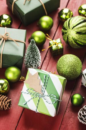Christmas background with gift boxes,  Preparation for holidays. Top view with copy space. 写真素材 - 133271413
