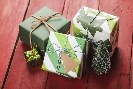 Christmas background with gift boxes,  Preparation for holidays. Top view with copy space. 写真素材 - 133271422