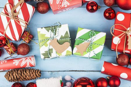 Christmas background with gift boxes,  Preparation for holidays. Top view with copy space. 写真素材 - 133255171