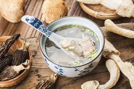 Chinese food, soup with scallop and bamboo fungus 写真素材 - 133289115