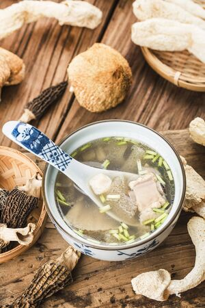 Chinese food, soup with scallop and bamboo fungus 写真素材 - 133289147
