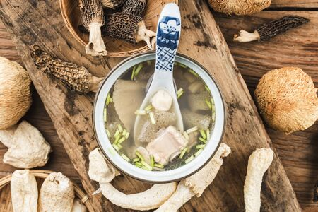Chinese food, soup with scallop and bamboo fungus 写真素材 - 133289149