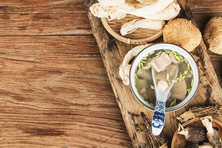 Chinese food, soup with scallop and bamboo fungus 写真素材 - 133289151