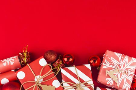 Christmas background with gift boxes,  Preparation for holidays. Top view with copy space. 写真素材 - 133271406