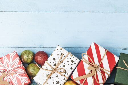 Christmas background with gift boxes,  Preparation for holidays. Top view with copy space. 写真素材 - 133271569