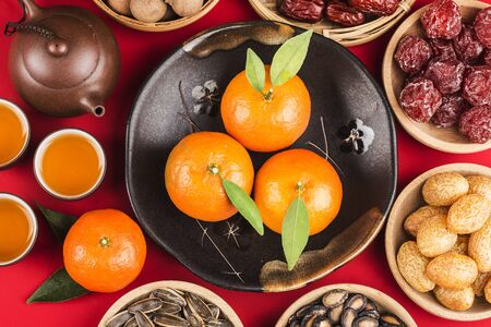 Top view Chinese new year festival food 写真素材