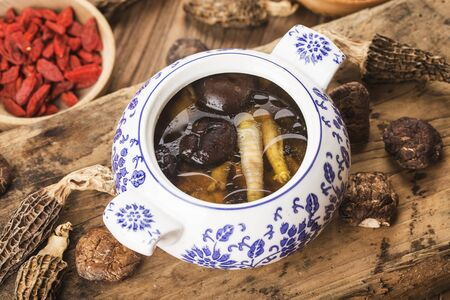 Chinese cusine - stewed mushroom and chicken soup