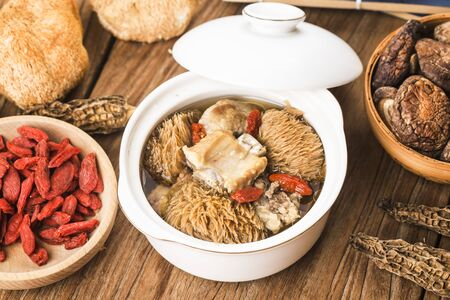 Hericium ribs soup,Chinese food stew