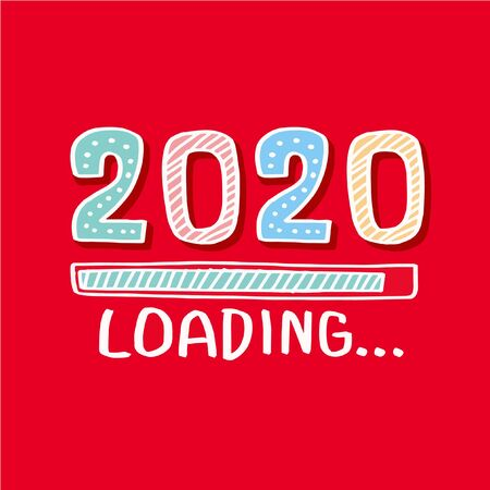 Progress bar almost reaching new years eve. Illustration with 2020 loading Ilustracja