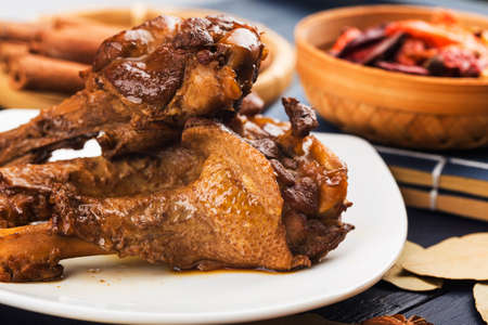 Roasted duck wing root, duck meat