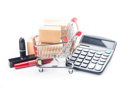Consumers use internet shopping concept