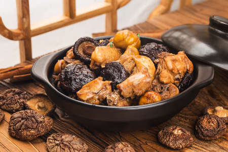 Chinese cuisine: Stir-fried chicken with chestnut and mushroom 写真素材 - 161933777