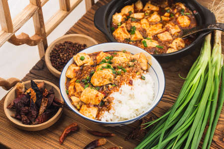 Chinese cuisine: tofu and spicy minced rice 写真素材 - 161933965
