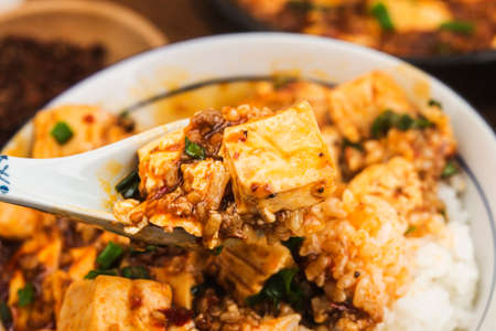 Chinese cuisine: tofu and spicy minced rice 写真素材