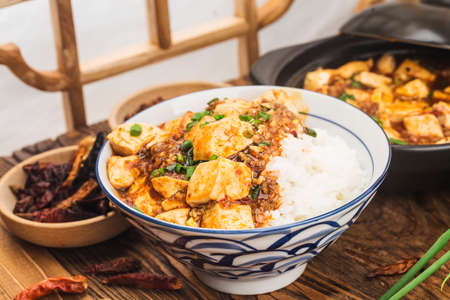 Chinese cuisine: tofu and spicy minced rice 写真素材 - 161935931