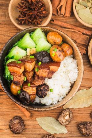 Chinese food: Braised Pork Rice 写真素材 - 161936204
