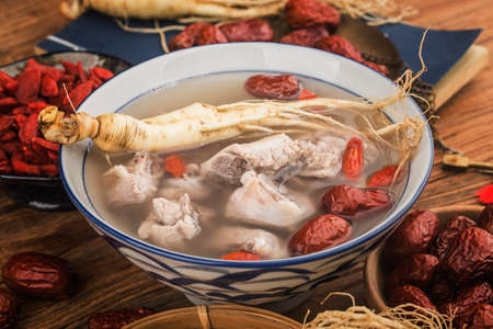 A bowl of ginseng ribs soup 写真素材 - 161936364