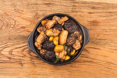 Chinese Food: Braised Pork with Chestnut and Mushroom