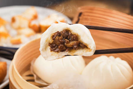 Steamed Chinese pork stuffed buns
