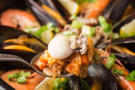 Tasty Spanish paella with seafood. Stockfoto