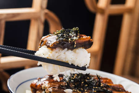 Japanese eel grilled with rice bowl or Unagi don-Japanese food style Banque d'images
