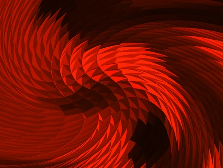 abstract swril of red scales and spikes on black                                Stock Photo