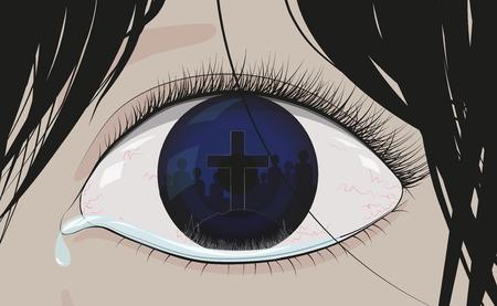 Tränen in den Augen unterschreiben, sehen, die Ausgabe, Optiker, comic Standard-Bild - 60087966