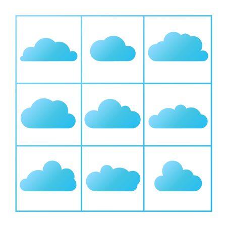 cloud icon: blue cloud icon set