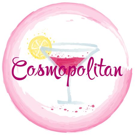 cocktail strainer: Cosmopolitan cocktail watercolor party, drink, , illustration Illustration