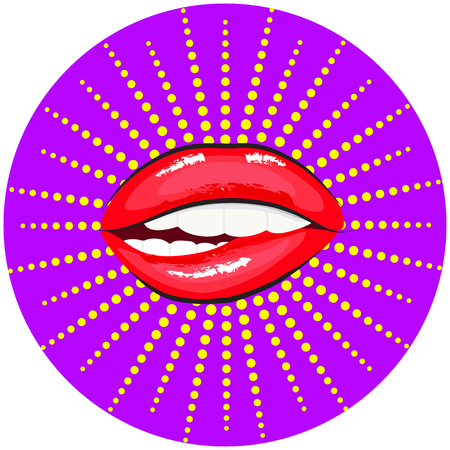Woman biting her red lips Illustration