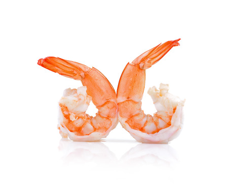 white tail: Close up of boiled shrimps for seafood background
